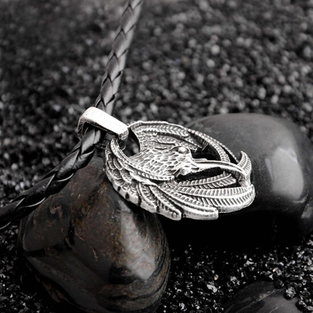 北欧カラスネックレスオーディンバイキングペンダントカラスルーンイーグル男性ネックレスのギフト