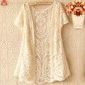 Harajuku Mulheres Verão Doce Malha Oco Out Bordado Floral Camisa Solta Kawaii Lolita Fêmea Mori Menina Rendas Top Vestido U148