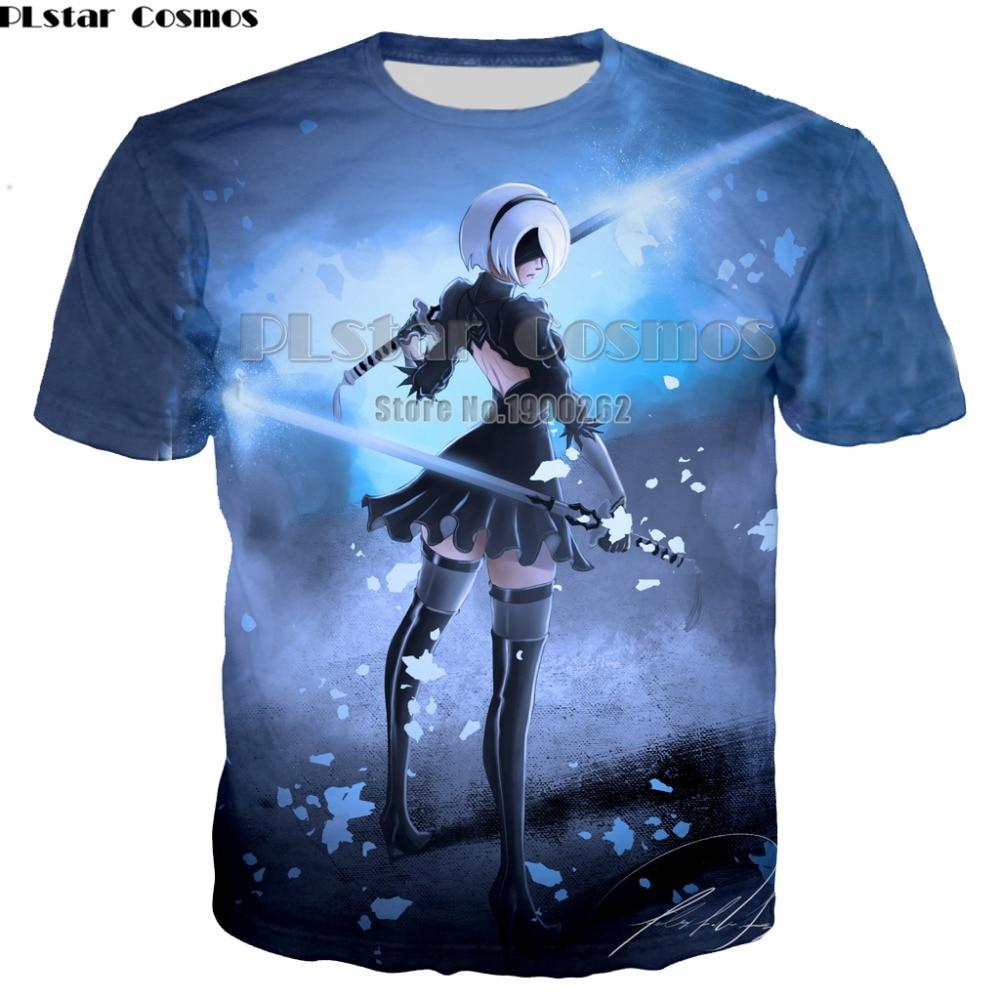 PLstar Cosmos NEW Game NieR Automata Hipster Cute Unisex Nier Cosplay   T     Shirts   Men Women 3D Print Fashion   T  -  shirt   drop shipping