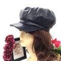 Мода pu кожа газетчик шляпы для женщин дамы свадьбу бейсбол хип-хоп папа cap