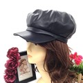 Fashion pu leather newsboy hats for women ladies party wedding baseball hip hop dad cap