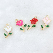 20PCS/Lot Fashion Jewelry Valentines Day Rose Metal Charms Romantic Flower with Gree Leaves Oil Drop