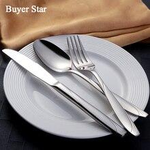 20Pcs/Set 18/10 Stainless Steel Cutlery Set Dinner Knife Fork Scoop Wedding Silverware Set Restaurant Kitchen Tableware Gift Box