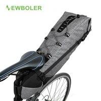 NEWBOLER 100% Waterproof Bicycle Saddle Bag Large Bike Tail Seat Bags TPU + Polyester Cycling Rear Panniers Bike Accessories 12L