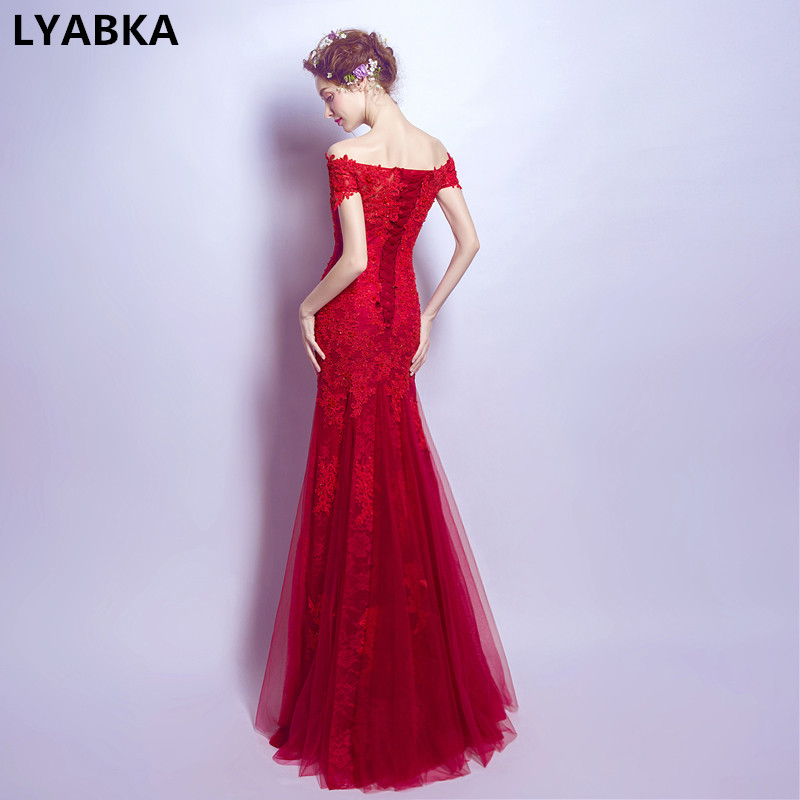 Vestido De Festa Real Photo Burgundy   Evening     Dresses   Long   Dress   2019 Appliques Formal Mermaid   Evening     Dress   Gown Robe De Soiree