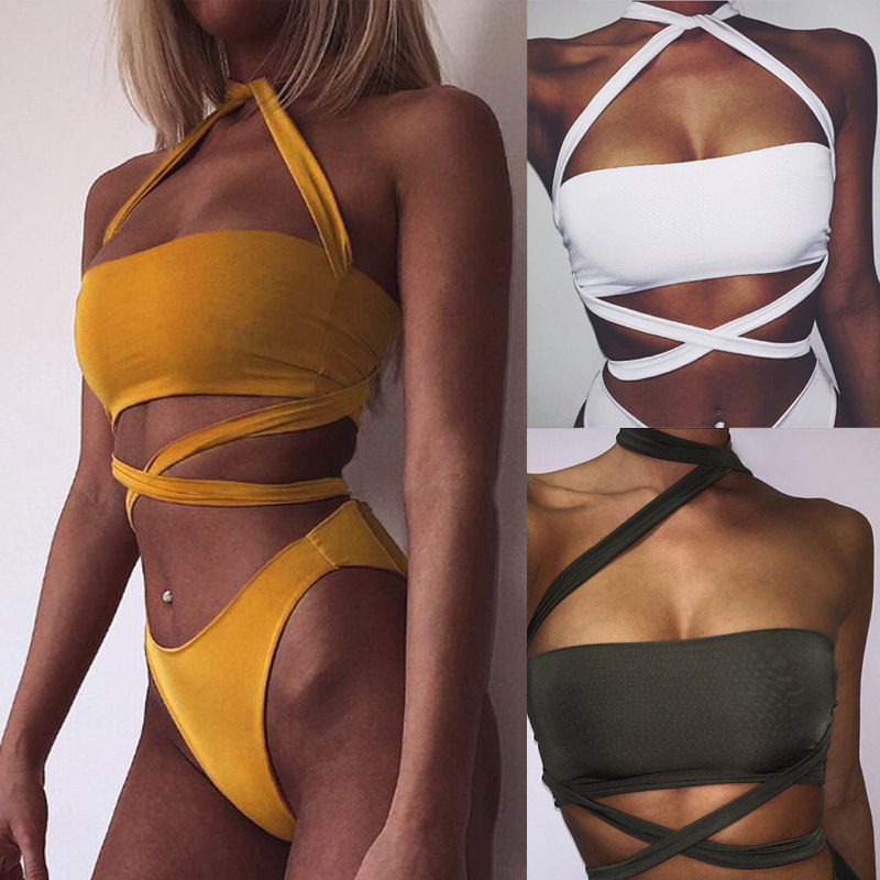 2017 new arrival solid lace up wrapped cross back high waist swimsuit bandage bikini bathing suit sexy women swimwear dropship verzy 2018 new sexy solid light pink and black high waist bikinis for women sweet girl swimsuit cross lace v neck tassel biquini