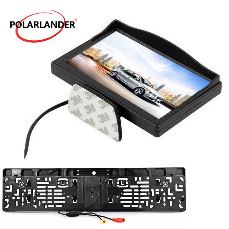 Caméra de recul + plaque d'immatriculation 5 pouces moniteur de stationnement HD LED de bureau moniteur de voiture sans fil émetteur argent/noir pour voiture