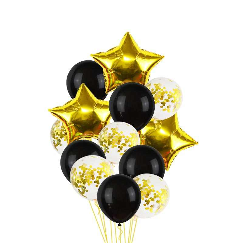 Party Decoration Set Black Gold Foil Balloons Happy Birthday Baby Shower Inflatable Wedding Helium Number Ballon Birthday Supply