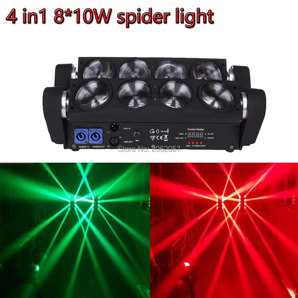 High quality 8*10W RGBW led spider light moving beam light disco dj DMX professional effect stage lights for club