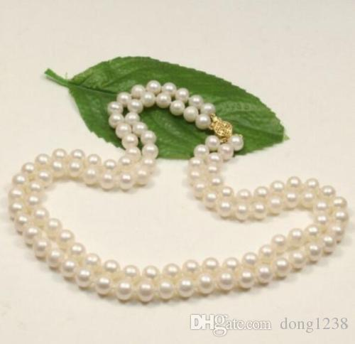 2 rows 8-9 mm white south sea natural pearl necklace 18