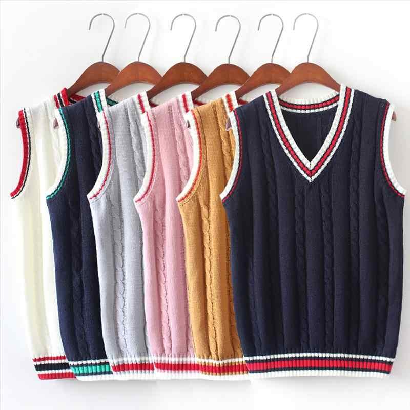 6 צבע V צוואר אפוד סוודר 2019 סתיו שרוולים נשים סוודרים Fahsion טוויסט דפוס סרוג בסוודרים כל התאמה למשוך Femme