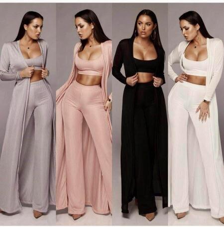 Pantalón 2018 Atractivas Conjuntos Celebridades 4 Fiesta Unidades 3 Set Halinfer Mujeres De Streetwear Nuevas Pantalones Bodycon Colores Recto qvfgwxxUd