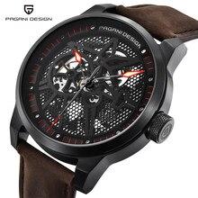 c662eb9cebc1 PAGANI diseño clásico de los hombres esqueleto relojes mecánicos impermeable  30 m cuero genuino marca de lujo automático hueco r.