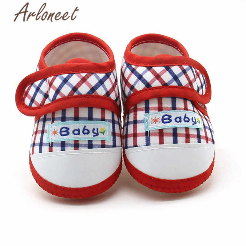 ARLONEET 2019 baby boys Girls baby cotton fabric Canvas Anti-slip Shoes Pliad print Sneaker Toddle Cute Baby Cloth Crib Shoes