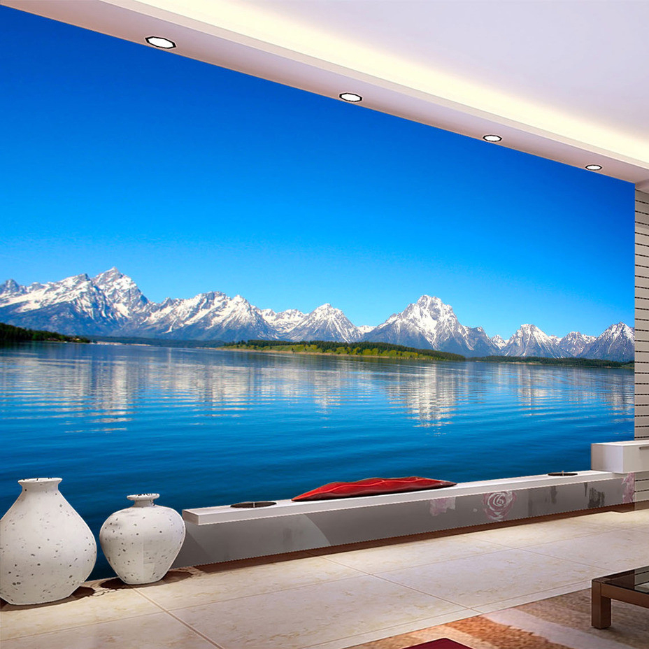 Custom 3D Photo Wallpaper Blue Sky Lake Water Nature Landscape Decorative Painting Sofa TV Backdrop Wallpaper For Bedroom Walls customize wallpaper for walls 3 d swan lake picture in picture 3d tv backdrop 3d photo wall mural 3d landscape wallpaper