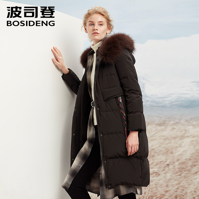 BOSIDENG new winter thicken down jacket long parka for women real fur collar hoodie ribbon draw