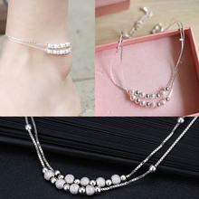 Hot Fashion Body Jewelry Women Elegant Beads Foot Chain Copper With Silver Plating Ankle Bracelet Body-001593