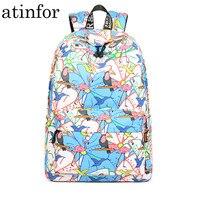 15.6 Inch Laptop Backpack Women Cute Birds Flamingo Printing Female Waterproof School Book Bag for Teenage Lady