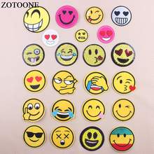 ZOTOONE Iron On Transfer Embroidery Smiley Face Sequin Patches For Clothing Kids Stripes Stickers Clothes Decoration