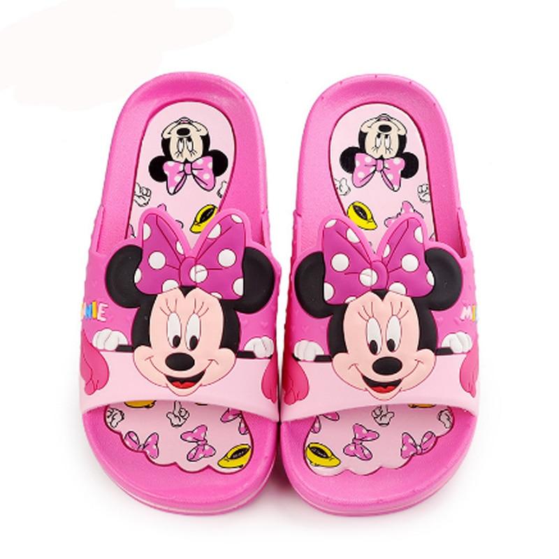 Disney Cute Kids Slippers Girls Boys Mickey Minnie Cartoon Children Shoes 2018 New Summer Indoor Sandals Baby Beach Home Shoes