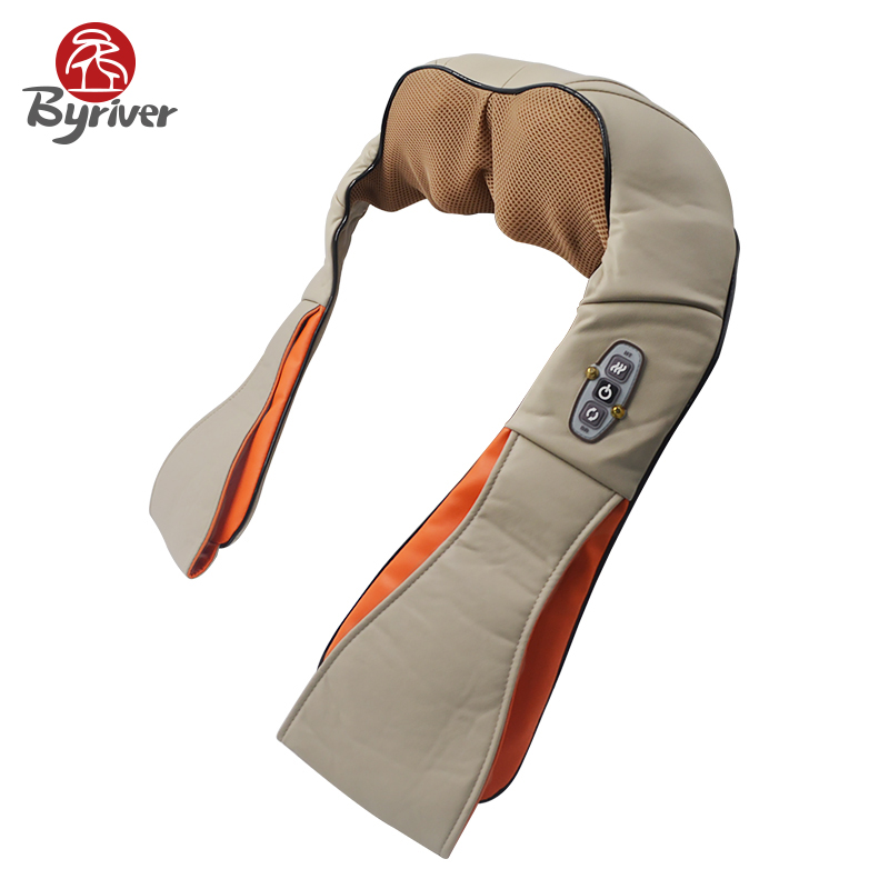BYRIVER Electric Acupoint Acupressure Reflexology Kneading Neck and Shoulder Massager Relaxer With Heat Car Home Use