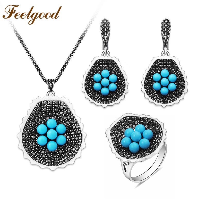Feelgood Vintage Silver Color Jewellery Set New Fashion Black Crystal And Blue Beads Flower Jewelry Sets
