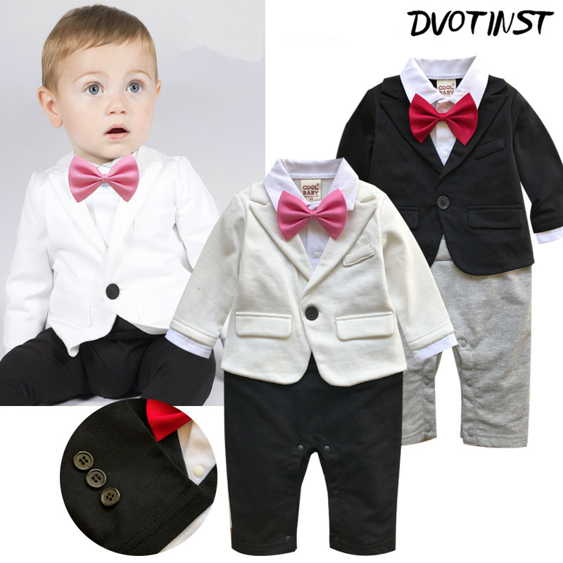 Dvotinst Baby Boys Clothes Full Sleeves Gentleman Bow Tie Rompers Outfit Infant Toddler Jumpsuit Party Wedding Clothing Costume surplice neckline self tie cami jumpsuit