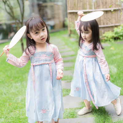 2018 Halloween Cosplay Costume Girls Dress Flower Embroidery Baby Chinese Style National Hanfu Long Skirt Retro Tang Suit