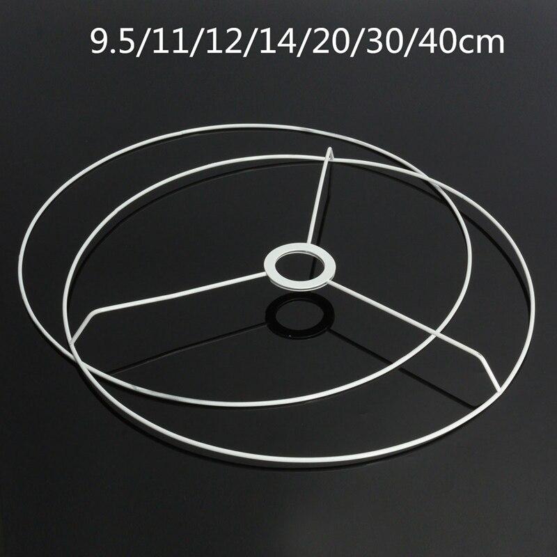 Okrągły abażur ramka pierścieniowa 9.5/11/12/14/20/30/40cm średnica lampa odcień światła DIY Making Kit zestaw żelaza E27 abażur rama