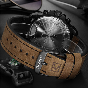CURREN Men's Sport Military Genuine Leather Chronograph Calendar Date Waterproof Quartz Watches 3