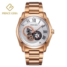 PRINCE GERA Fashion Rose Gold Waterproof Mens Automatic Watch Luxury Sapphire Scratch-proof Skeleton Mechanical Men Watches
