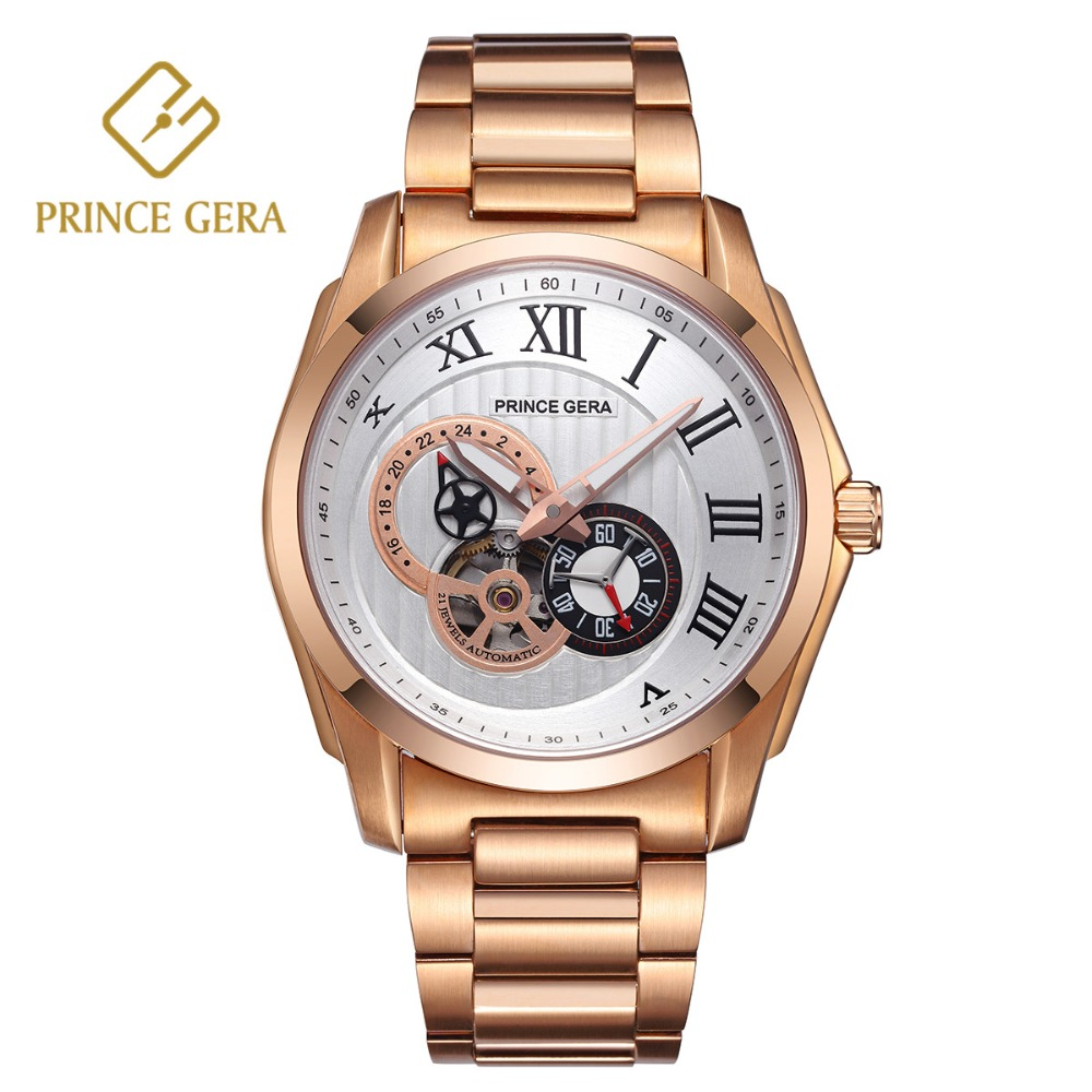 PRINCE GERA Men's Watch Male Waterproof Automatic watch Luxury Sapphire Scratch proof Skeleton relogio Masculino Chronograph|Mechanical Watches| |  - title=
