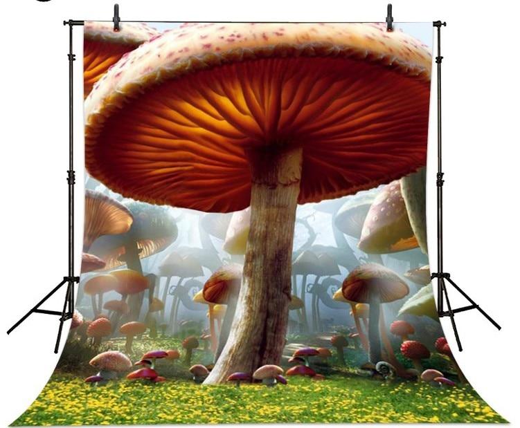 Alice In Wonderland Mushroom Forest Backgrounds for sale Vinyl cloth High quality Computer printed children kids backdrop wild edible mushroom in forest ecosystem