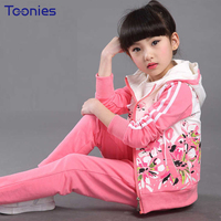 Flowers Printed Children Sportswear Spring Autumn Girls Pants Suits Zipper Coats Pant 2pcs Suit Girl Clothing