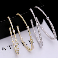 choucong Handmade Hoop earring Pave setting AAAAA zircon 925 Sterling silver Party Wedding Earrings for women jewelry