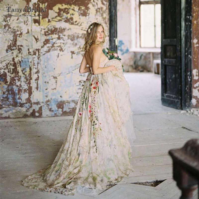 Colorfull New Fashion Wedding Dresses Flowers Lace Elegant Dreamy