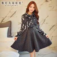 original suspender skirt female fall 2016 women's new korean high waisted all-match solid color tutu skirts wholesale
