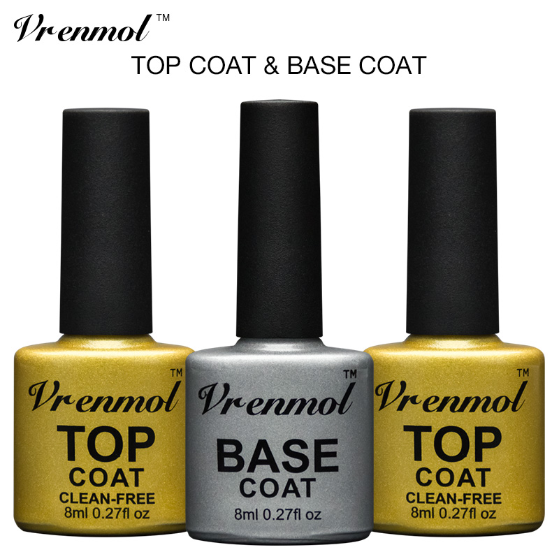 Vrenmol Long Lasting Não Limpo Gel Polonês Top Base Verniz Gel Coat Top It Off + Base Coat Fundação Laca Gel Transparente