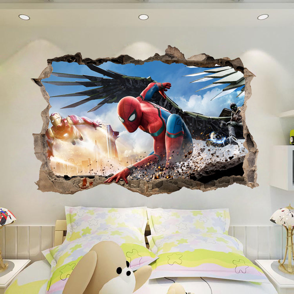 Kids room wall decor stickers - Aliexpress Com Buy 3d Spiderman Wall Decor Sticker For Kids Room Anime Wallpaper Art Decals Self Adhesive Living Room Mural Mursery Gift Diy From Reliable