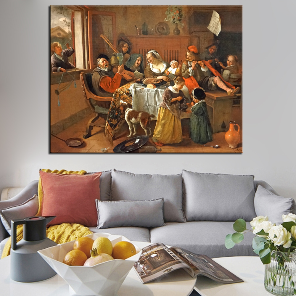 The Hy Family Wall Art Canvas Prints By Jan Havickszoon S Dutch Golden Age Reproductions Paintings For Living Room In Painting Calligraphy