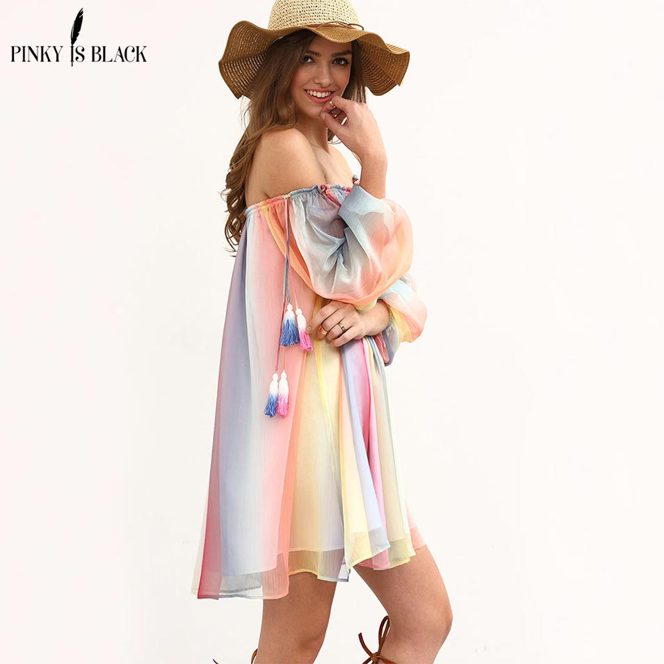 Pinky Is Black Seven color spliced off shoulder summer dress women half sleeve loose tassel chiffon beach dress casual Vestidos