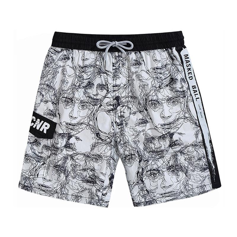 Ink portrait Print Beach Shorts Men Bermuda Board Shorts Quick Dry Mens Jogger Shorts Male Outdoor Fishing Sweat Workout Shorts