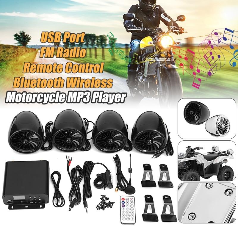 цена на Mofaner 4PSC Motorbike ATV Audio1000W 12V LCD Bluetooth 4 Speakers+Amplifier Handlebar System Motorcycle/ATV