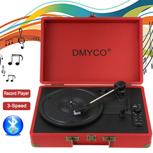Audio Mini Stereo 3-Speed Turntable Retro LP Vinyl Record Player Buletooth Recording HiFi PC USB Record Player Case RCA Built-in