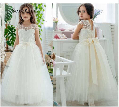 New Arrival Flower Girl Dresses For Weddings First Communion Dresses For Girls Birthday Party Sweet Design Elegant Lace elegant lady lace flower and fascinator veil design banquet party black cocktails hat