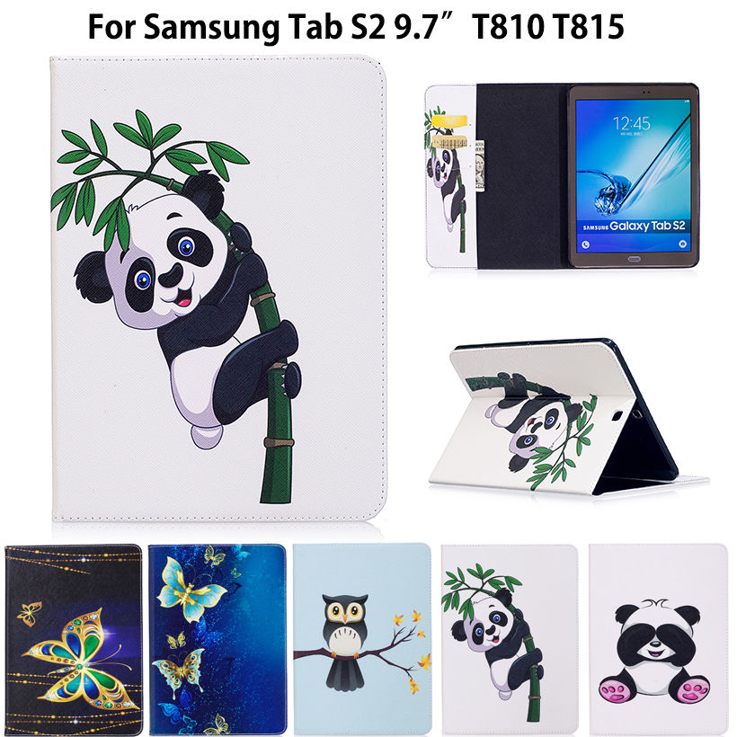 Tab S2 9.7 Case Panda Pattern Cover For Samsung Galaxy Tab S2 9.7 T810 T815 T813 T819 Smart Case Cover Tablet PU Leather Funda luxury pu leather cover case for samsung galaxy tab s2 9 7 t810 t815 sm t810 flip stand for samsung galaxy s2 t815 cases kf469a