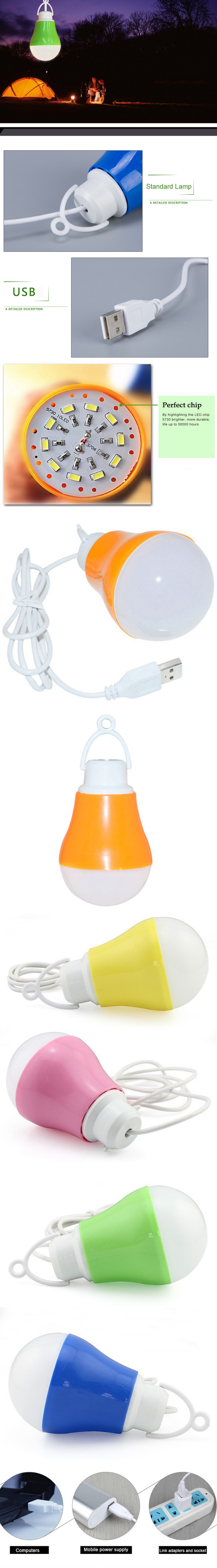 DC 5V LED Lamp USB Bulb Light 5W Bubble Ball Camping Lampada