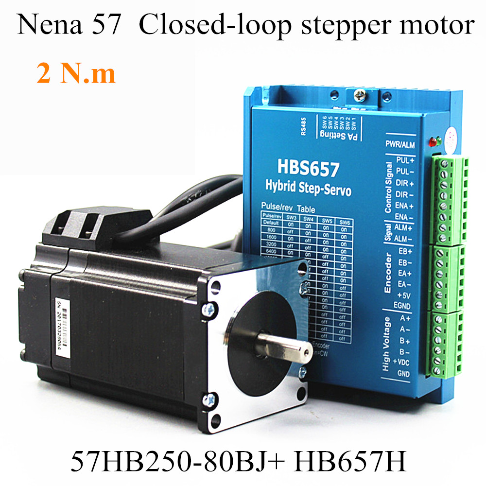 Nena 57 Closed-Loop Motor 57HB250-80BJ With Encoder Hybrid Stepping Motor 2.0N.m HB657H Driver 80mm High Speed 2.2N.m Motor 2 phase 42mm closed loop stepper motor driver kit with encoder 10000p r 20 70vdc 1 3a nema17 0 32nm 42ema hb 42eda h