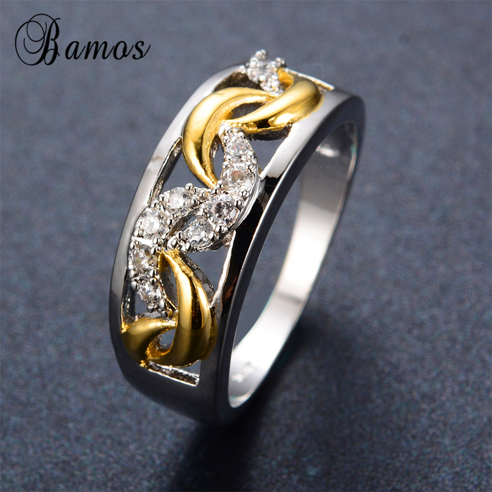 Punk style silver gold ring white gold filled female male for Wedding rings for male and female