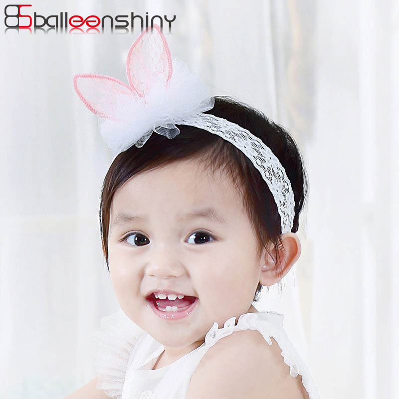 BalleenShiny Lace Rabbit Ear Baby Girls Headband Cute Elastic Children Hair Accessories For Kids Birthday Gift Princess HeadwearBalleenShiny Lace Rabbit Ear Baby Girls Headband Cute Elastic Children Hair Accessories For Kids Birthday Gift Princess Headwear
